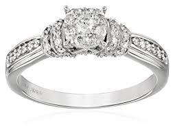 Circle Diamond Wedding Ring by 10k White Gold Round Center Cluster Diamond Engagement Ring 1