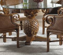 Hospitality Rattan Cancun Palm Indoor Wicker Pineapple Dining - Wicker dining room chairs
