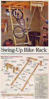 just garage plans swing up bike rack woodworking plans and projects