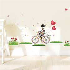 Cycling Home Decor Mural Flower Cycling Wall Stickers Living Room