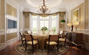 3d french dining room with wooden floors and ceiling windows