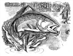 file black and white illustration of a fisherman in the fishing
