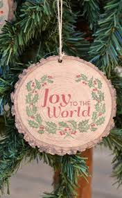 joy to the world christmas ornament ad lovely wood slice style