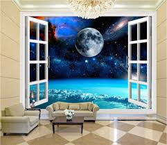 online get cheap wallpaper outside aliexpress com alibaba group custom mural 3d wallpaper outside the window of outer space decor painting 3d wall murals wallpaper for living room walls 3 d