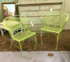 Lime Green Patio Furniture by Black Wrought Iron Folding Garden Chairs 80 Pair Country Garden