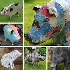 pig garden ornaments hog metal resin boar animals distressed