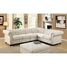 furniture of america stanford ii sectional set ivory linen like