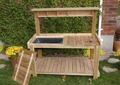 Free Potting Bench Plans Pdf Potting Bench With Hidden Wash Tub Could Also Be Used To Ice