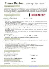 Resume Sample For Lecturer Elementary Teacher Resume Examples 2017 U2022
