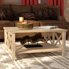 Wooden Living Room Table Farmhouse Rustic Coffee Tables Birch