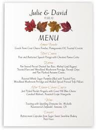 fall themed wedding menu cards u0026 dinner party menu cards shop