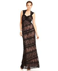 js collections dress sleeveless lace evening gown womens