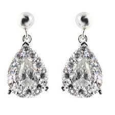 diamond drop earrings 18ct white gold 0 92ct pear shape diamond drop earrings