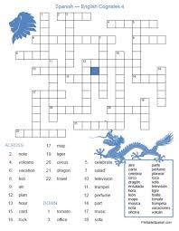 cognates crossword 4 u2013 printable spanish