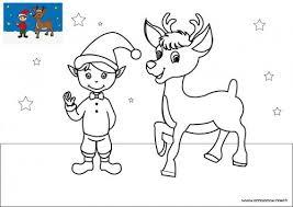 Coloriage de Noël Le lutin du Père Noël avec un renne à télécharger