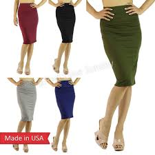 cute solid color lightweight knee length high waist pencil skirt