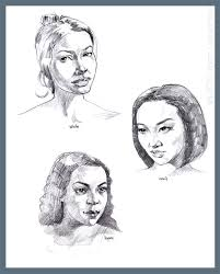 asian hispanic and white women portrait sketches