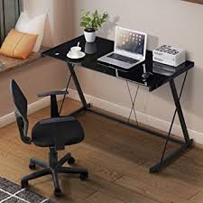 Z Shaped Desk Mecor Glass Top Computer Desk Z Shaped Metal Legs Pc