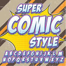 comic alphabet set pink color version letters numbers and