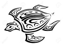 underwater turtle in tribal style for tattoo or mascot design
