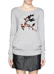 markus lupfer sequin reindeer christmas sweater in gray lyst