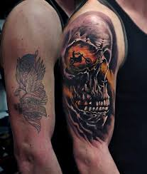 Skull Arm - skull motorcycle rider harley davidson arm tattoos for guys