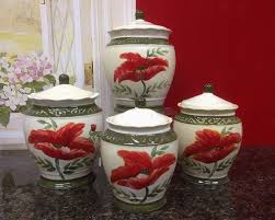 amazon com tuscany floral poppy hand painted ceramic canister