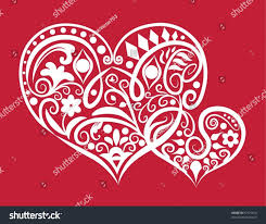 decorative two hearts ornament 2 hearts stock vector 97175816