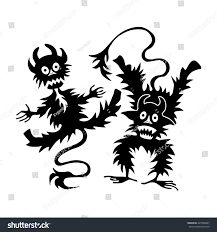 halloween template cartoon little devil imp halloween vector stock vector 425506897