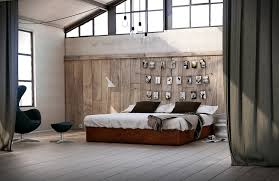 fabulous big loft bedroom design with mesmerizing wooden wall and