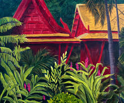 tropical rainforest native plants tropical print of lush jungle plants and red bungalows