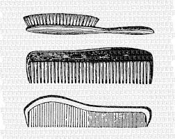 vintage hairbrush comb set digital collage sheet illustration