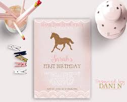 horse rustic birthday invitation derby pink burlap lace horse