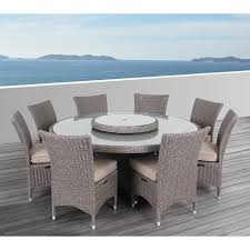 Round Patio Furniture Set by Ove Decors Habra Ii 9 Piece Aluminum Round Outdoor Dining Set With