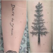 up of a pine tree on the forearm