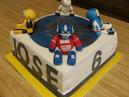 transformer cake with bumblebee optimus rc and bulkhead