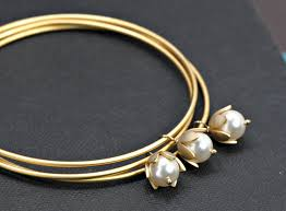 gold pearl bangle bracelet images Gold bangles bracelet pearl bracelet bangles set of three gold jpg