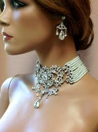 crystal choker necklace wedding images Evening jewelry fashion design images jpg