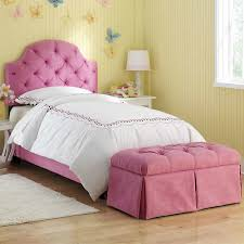 pink ellie tufted full bed with bench