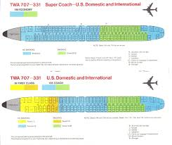 airlines past present twa seat guide map twa boeing 707 seating guide map