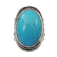 turquoise stone tone turquoise stone metal ring women fashion indian jewelry size
