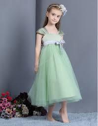 simple empire cap sleeves tea length easter little girls dresses