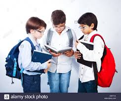 classmates books three smart boys read books classmates make homework schoolboys