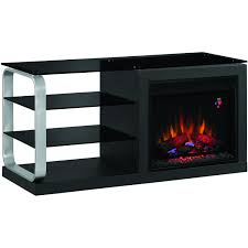 luxe 52 inch electric fireplace media console black metal