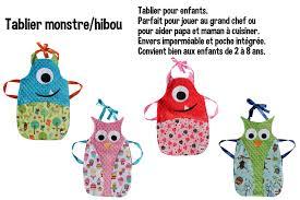 patron tablier cuisine fille agrandir l image de tablier cuisine monstre couture