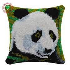 panda craft needlework pillowcase latch hook rug kits back cushion