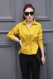 yellow blouse unomatch collar neck elasticated waist shirt and blouse