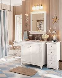 cute rustic beachy bathroom accessories design with white marble