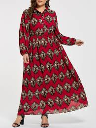 printed plus size elastic waist maxi shirt dress red xl in plus