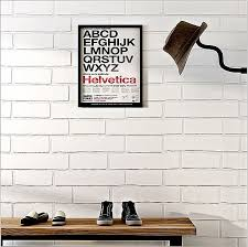 pure white brick look wallpaper shop cafe salad bar industrial